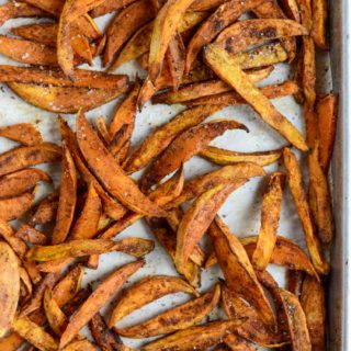 Thick & Crispy Sweet Potato Fries | simplerootswellness.com #sweetpotato #fries #recipe #easy #healthy #potato #crispy