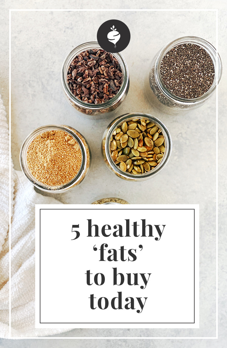 5 Healthy-Fats to Buy Today | simplerootswellness.com #healthyfats #fats #chia #flax #hemp #pumpkin #cacao #seeds #easy #healthy #recipes #pantry