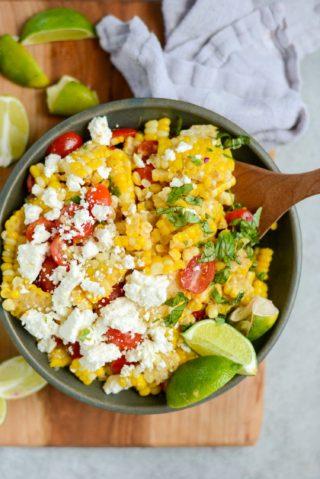 20-Minute Tomato & Feta Sweet Corn Salad | simplerootswellness.com #salad #supper #recipe #summer #healthy #easy #20minute #healthyfood